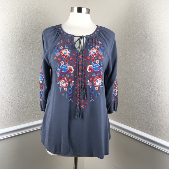 8628992861e Andre by Unit Tops | Grey Embroidered Tie Front Tunic | Poshmark